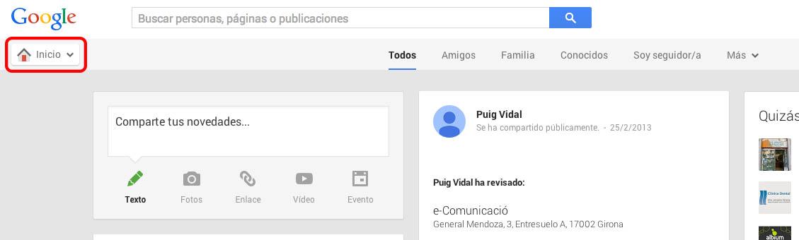 Cambiar nombre circulos Google+