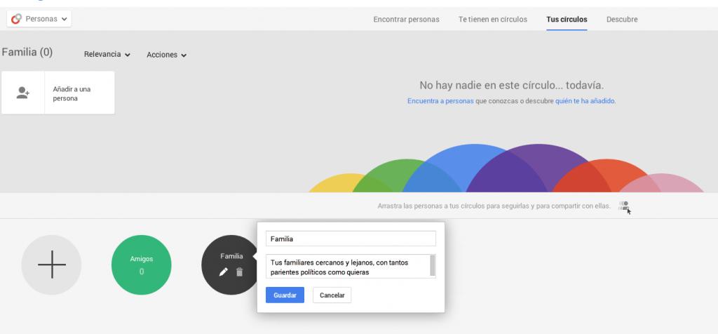 Editando los Círculos de Google+